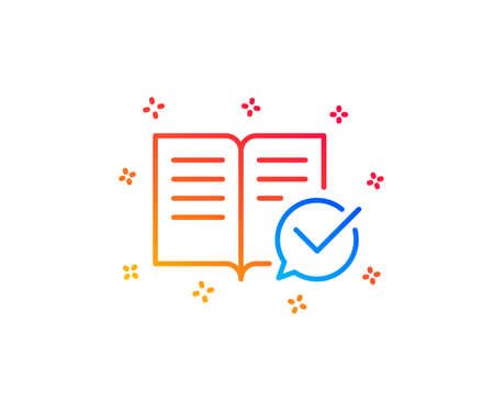 Approved documentation line icon. Accepted or confirmed sign. Instruction book. Gradient design elements. Linear approved documentation icon. Random shapes. Vector