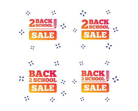 Back to school sale icons. Studies after the holidays signs. Pencil symbol. Random dynamic shapes. Gradient school icon. Vector
