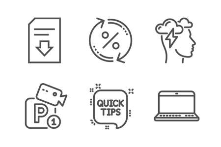 Parking security, Mindfulness stress and Loan percent icons simple set. Download file, Quick tips and Notebook signs. Video camera, Cloud storm. Line parking security icon. Editable stroke. Vector