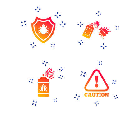 Bug disinfection icons. Caution attention and shield symbols. Insect fumigation spray sign. Random dynamic shapes. Gradient disinfection icon. Vector Stock Illustratie