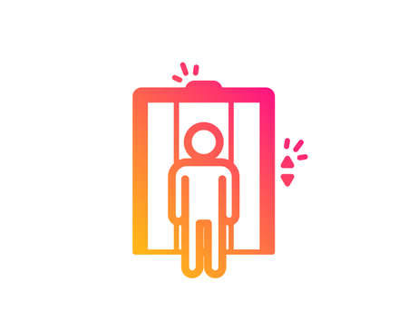 Lift icon. Elevator sign. Transportation between floors symbol. Classic flat style. Gradient elevator icon. Vector Vettoriali