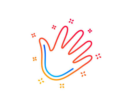 Hand wave line icon. Palm sign. Gradient design elements. Linear hand icon. Random shapes. Vector Illustration
