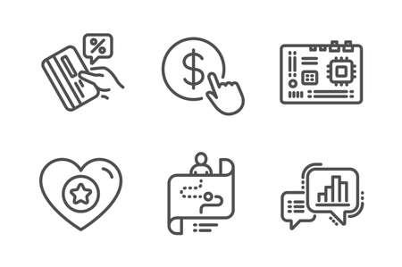 Conjunto simple de iconos de ruta de corazón, placa base y viaje. Tarjeta de crédito, comprar moneda y signos de gráfico gráfico. Clasificación de estrellas, componente de la computadora. Conjunto de tecnología. Icono de corazón de línea. Trazo editable. Vector