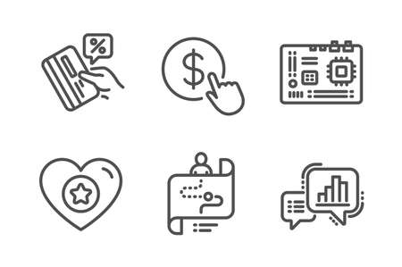 Heart, Motherboard and Journey path icons simple set. Credit card, Buy currency and Graph chart signs. Star rating, Computer component. Technology set. Line heart icon. Editable stroke. Vector