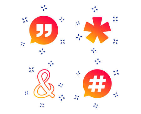 Quote, asterisk footnote icons. Hashtag social media and ampersand symbols. Programming logical operator AND sign. Speech bubble. Random dynamic shapes. Gradient quote icon. Vector Illustration