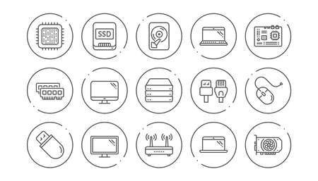 Computer device line icons. Motherboard, CPU and Laptop. SSD memory linear icon set. Line buttons with icon. Editable stroke. Vector Çizim
