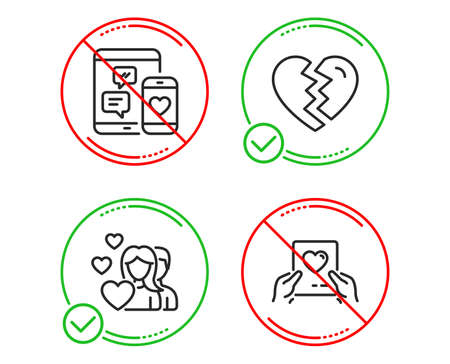 Do or Stop. Social media, Couple and Break up icons simple set. Love mail sign. Mobile devices, Valentines day, Divorce. Valentine letter. Love set. Line social media do icon. Prohibited ban stop Illustration
