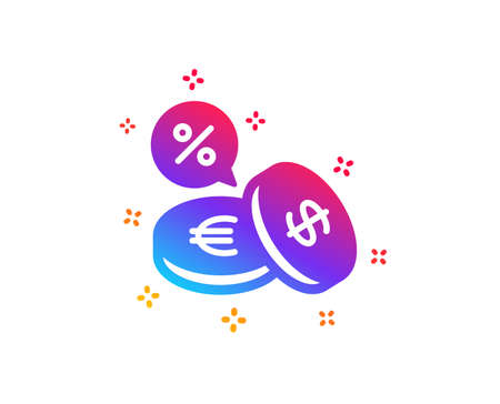 Coins money icon. Banking currency sign. Euro and Dollar Cash symbols. Cashback service. Dynamic shapes. Gradient design currency exchange icon. Classic style. Vector Foto de archivo - 122919861