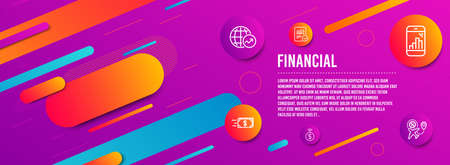 Header banner. Checked calculation, Money transfer and World statistics icons simple set. Graph phone, Contactless payment and Flight sale signs. Statistical data, Cash delivery. Finance set. Vector