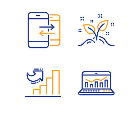 Growth chart, Phone communication and Startup concept icons simple set. Web analytics sign. Diagram graph, Incoming and outgoing calls, Launch project. Statistics. Education set. Vector