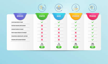 Sharing economy, Water care and Bitcoin pay icons simple set. Comparison table. Writer sign. Share, Aqua drop, Cryptocurrency coin. Copyrighter. People set. Pricing plan. Compare products. Vector