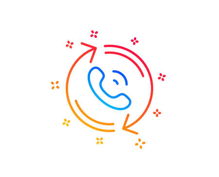 Call center service line icon. Recall support sign. Feedback symbol. Gradient design elements. Linear call center icon. Random shapes. Vector