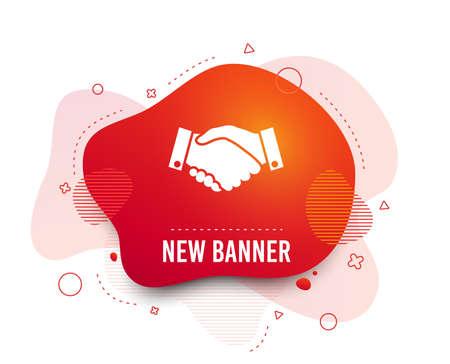 Fluid badge. Handshake sign icon. Successful business symbol. Abstract shape. Gradient handshake icon. Flyer liquid banner. Vector Standard-Bild - 122924993
