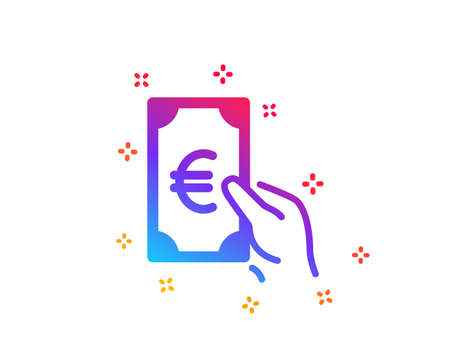 Hold Cash money icon. Banking currency sign. Euro or EUR symbol. Dynamic shapes. Gradient design finance icon. Classic style. Vector Foto de archivo - 122925202