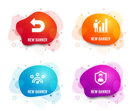 Liquid badges. Set of Graph chart, Undo and Correct answer icons. Security agency sign. Growth report, Left turn, Speed symbol. People protection.  Gradient graph chart icon. Flyer fluid design 일러스트