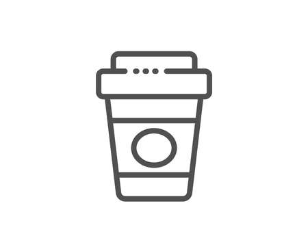 Takeaway coffee line icon. Hot latte cup sign. Tea drink mug symbol. Quality design element. Linear style takeaway coffee icon. Editable stroke. Vector