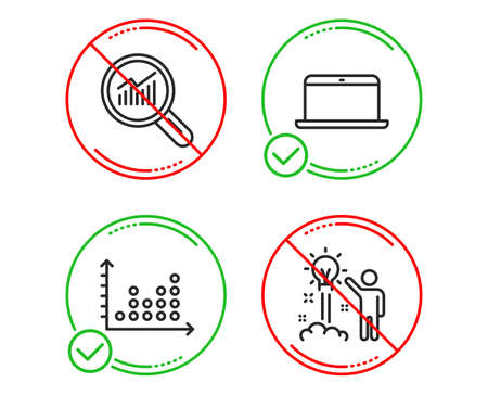 Do or Stop. Data analysis, Laptop and Dot plot icons simple set. Creative idea sign. Magnifying glass, Mobile computer, Presentation graph. Startup. Education set. Line data analysis do icon. Vector Ilustrace