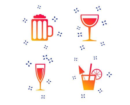 Alcoholic drinks icons. Champagne sparkling wine and beer symbols. Wine glass and cocktail signs. Random dynamic shapes. Gradient alcohol icon. Vector Ilustracja