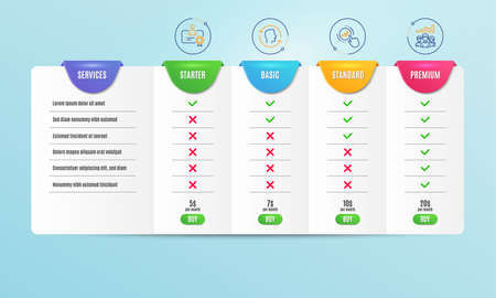 Certificate, Face id and Graph chart icons simple set. Comparison table. Teamwork results sign. Best employee, Identification system, Get report. Group work. People set. Pricing plan. Vector Illustration