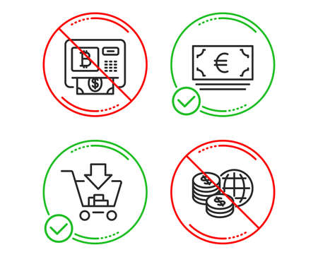 Do or Stop. Bitcoin atm, Shopping and Euro currency icons simple set. World money sign. Cryptocurrency change, Add to cart, Eur banking. Global markets. Finance set. Line bitcoin atm do icon. Vector