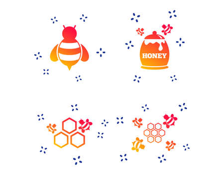 Honey icon. Honeycomb cells with bees symbol. Sweet natural food signs. Random dynamic shapes. Gradient honeycomb icon. Vector