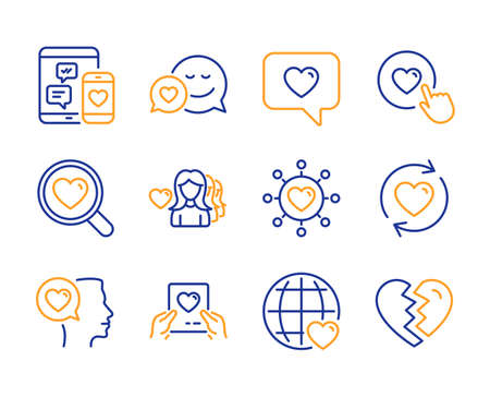Dating network, Social media and International love icons simple set. Romantic talk, Love message and Like button signs. Update relationships, Dating and Break up symbols. Line dating network icon