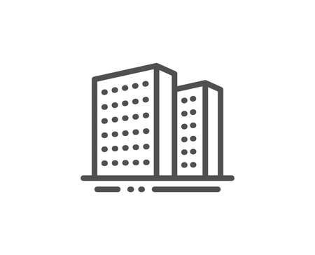 Buildings line icon. City apartments sign. Architecture building symbol. Quality design element. Linear style buildings icon. Editable stroke. Vector Standard-Bild - 122925323