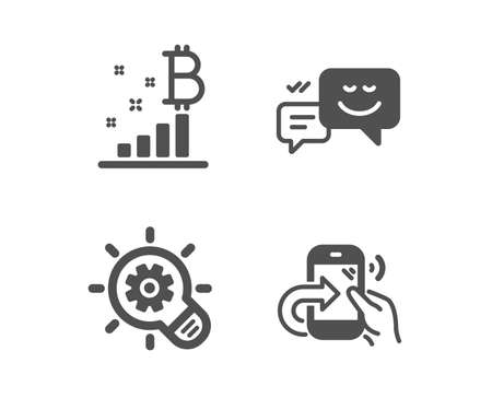 Set of Cogwheel, Bitcoin graph and Happy emotion icons. Share call sign. Idea bulb, Cryptocurrency analytics, Web chat. Phone support.  Classic design cogwheel icon. Flat design. Vector