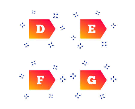 Energy efficiency class icons. Energy consumption sign symbols. Class D, E, F and G. Random dynamic shapes. Gradient efficiency icon. Vector
