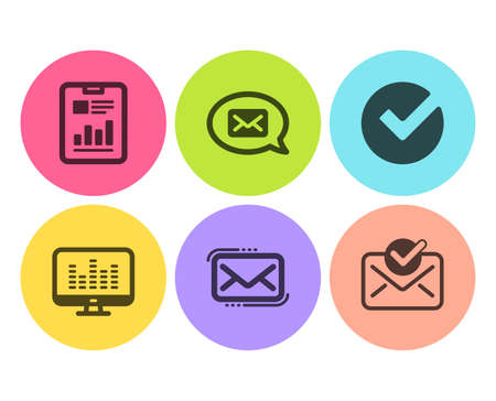 Messenger, Music making and Report document icons simple set. Verify, Messenger mail and Approved mail signs. New message, Dj app. Education set. Flat messenger icon. Circle button. Vector
