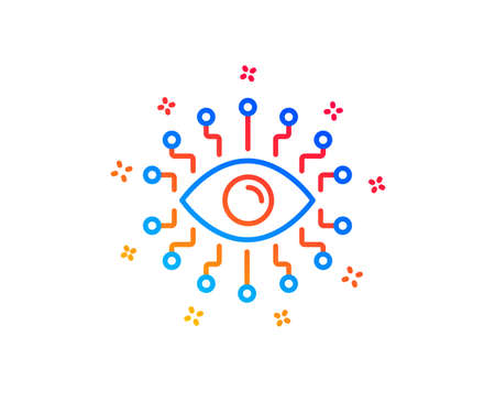 Artificial intelligence line icon. All-seeing eye sign. Gradient design elements. Linear artificial intelligence icon. Random shapes. Vector