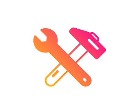 Spanner and hammer icon. Repair service sign. Fix instruments symbol. Classic flat style. Gradient spanner tool icon. Vector