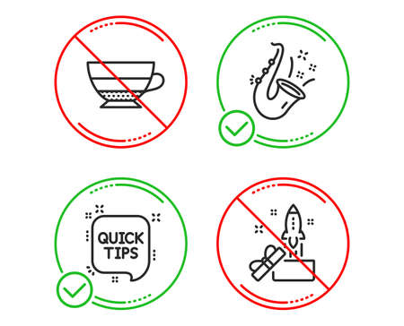 Do or Stop. Jazz, Quick tips and Americano icons simple set. Innovation sign. Saxophone, Helpful tricks, Beverage cup. Crowdfunding. Line jazz do icon. Prohibited ban stop. Good or bad. Vector Banco de Imagens - 122925401