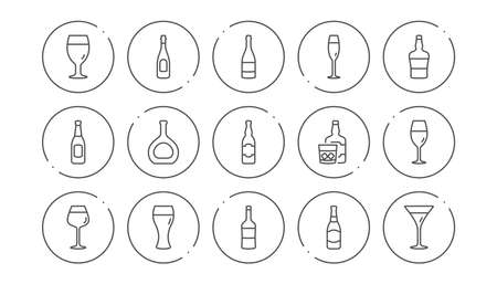 Bottles line icons. Beer drinks, Wine glass and Whiskey bottle. Champagne linear icon set. Line buttons with icon. Editable stroke. Vector 版權商用圖片 - 122925410
