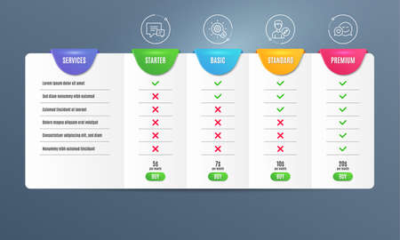 Cogwheel, Comment and Edit person icons simple set. Comparison table. Dating sign. Idea bulb, Talk bubbles, Change user info. Love messenger. Business set. Pricing plan. Compare products. Vector