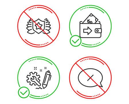 Do or Stop. Engineering, Wallet and Laureate icons simple set. Reject sign. Construction, Money payment, Award shield. Delete message. Business set. Line engineering do icon. Prohibited ban stop