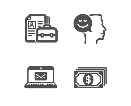Set of Good mood, Vacancy and E-mail icons. Payment sign. Positive thinking, Hiring job, New message. Finance.  Classic design good mood icon. Flat design. Vector Illustration