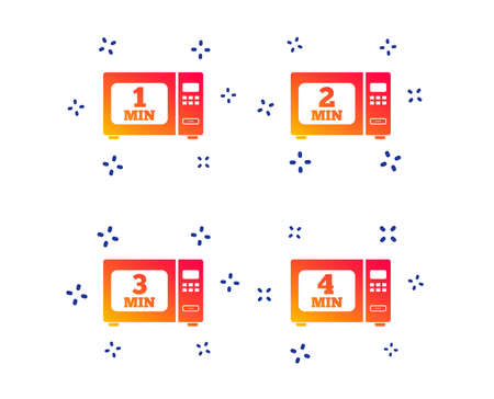 Microwave oven icons. Cook in electric stove symbols. Heat 1, 2, 3 and 4 minutes signs. Random dynamic shapes. Gradient microwave icon. Vector
