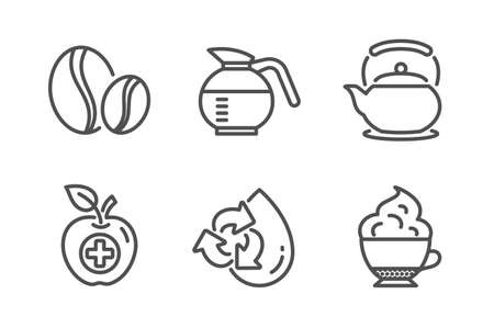 Recycle water, Coffeepot and Coffee beans icons simple set. Medical food, Teapot and Cappuccino cream signs. Refill aqua, Brewed coffee. Food and drink set. Line recycle water icon. Editable stroke