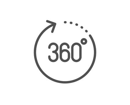360 degrees line icon. Panoramic view sign. VR technology simulation symbol. Quality design element. Linear style 360 degrees icon. Editable stroke. Vector