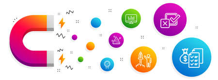 Magnet attracting. Certificate, Music making and Launch project icons simple set. Checkbox, Pyramid chart and Accounting wealth signs. Verified award, Dj app. Education set. Vector