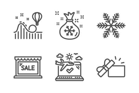 Snowflake, Santa sack and Sale icons simple set. Roller coaster, Airplane travel and Opened gift signs. Air conditioning, Gifts bag. Holidays set. Line snowflake icon. Editable stroke. Vector