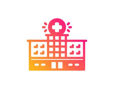 Hospital building icon. Medical help sign. Classic flat style. Gradient hospital building icon. Vector Illustration