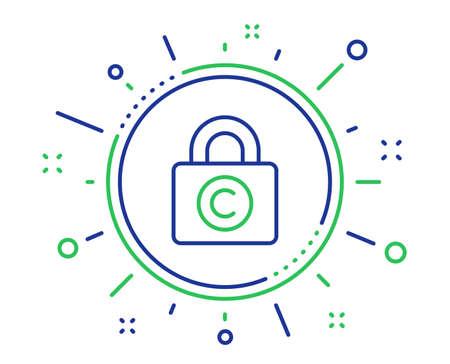 Copyright locker line icon. Copywriting sign. Private Information symbol. Quality design elements. Technology copyright locker button. Editable stroke. Vector 写真素材 - 122932375