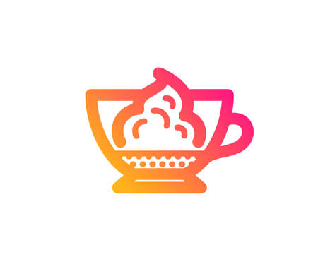 Espresso with whipped cream icon. Hot coffee drink sign. Beverage symbol. Classic flat style. Gradient espresso cream icon. Vector Ilustração