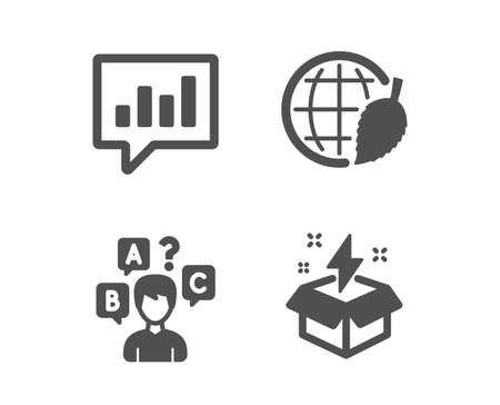 Set of Environment day, Quiz test and Analytical chat icons. Creative idea sign. Safe world, Interview, Communication speech bubble. Lightning.  Classic design environment day icon. Flat design