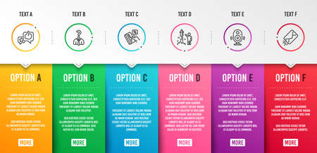Like, Hiring employees and Credit card icons simple set. Fireworks, Speaker and E-mail signs. Star rating, Human resources. Business set. Infographic template. 6 steps timeline. Business options Illustration
