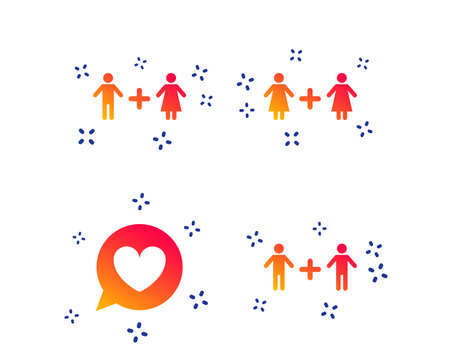 Couple love icon. Lesbian and Gay lovers signs. Romantic homosexual relationships. Speech bubble with heart symbol. Random dynamic shapes. Gradient lovers icon. Vector