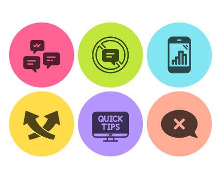 Deje de hablar, el teléfono Graph y los iconos de tutoriales web se establecen en forma simple Mensajes de chat, flechas de intersección y señales de rechazo. No hables, Estadísticas móviles. Conjunto de tecnología. Icono de parada de hablar plana. Botón circular