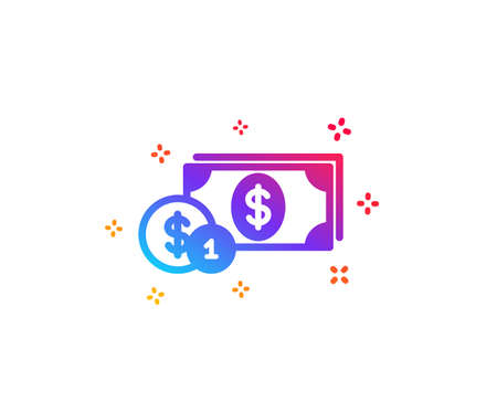Cash money with Coins icon. Banking currency sign. Dollar or USD symbol. Dynamic shapes. Gradient design dollar money icon. Classic style. Vector Illustration